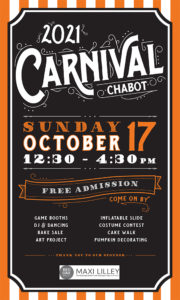 """Poster for Chabot Carnival white words on black background :2021 Carnival Chabot Sunday oct 17"""""""